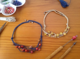 Necklaces with paper beads